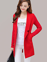 Women's Going out Street chic Coat,Solid Notch Lapel Long Sleeve Fall / Winter Red / Gray Wool / Cotton / Polyester