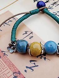 Strand Bracelets 1pc,Blue Bracelet Vintage Round 514 Ceramic Jewellery