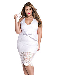 Women's Plus White Crossover Straps Floral Lace Overlay Peplum Dress