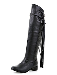 Women's Shoes Winter Riding Boots / Round Toe Boots Dress / Casual Low Heel Tassel Black / White Others