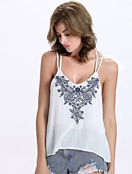 Women's Casual Sexy Summer Tank Top,Embroidered Strap Sleeveless