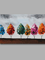 "Stretched (Ready to hang) Hand-Painted Oil Painting 36""x24"" Canvas Wall Art Modern Abstract Trees Sky Brown"