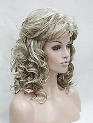 New Fashion Honey Ash Blonde Mix Pale Blonde Curly Medium Length Synthetic Wigs