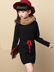 Girl's Casual/Daily Solid Dress / Sweater & Cardigan,Rayon Winter / Spring / Fall Black / Red