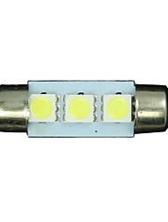 50X White 36mm 3 5050 SMD Festoon Dome Map Interior LED Light Lamp DE3175 3022 12V