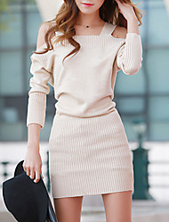 Women's Going out Street chic Loose Dress,Solid Strap Mini Long Sleeve Beige / Purple Acrylic Fall
