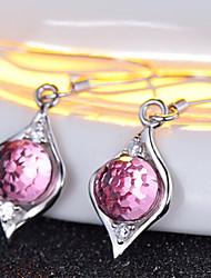 Cristal Moda Prata de Lei Áustria Cristal Forma Redonda Prata Jóias Para Diário Casual 1 par