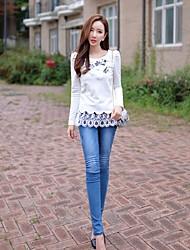 DABUWAWA® Femme Taille Normale Jeans / Skinny Bleu Pour tous les jours Pantalon-D15CTR017