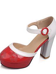 Women's Heels Summer Platform / Sandals Dress Chunky Heel Buckle / Hollow-out Black / Blue / Brown / Red