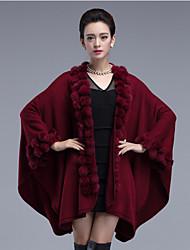 Long Cape / Capes Femme Habillées / Décontracté / Quotidien Vintage / simple / Sophistiqué,Couleur Pleine Rouge / Noir / Marron / VioletV