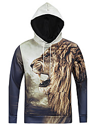 Men's Print Casual / Sport Hoodie,Cotton / Polyester Long Sleeve Aniaml Lions Printed 3D Hoodie