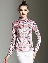 Mulheres Camisa Happy-Hour Vintage Todas as Estações,Estampado Rosa Poliéster Colarinho de Camisa Manga Longa Média