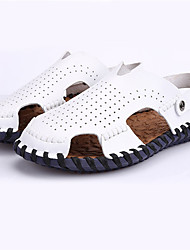 Men's Sandals Summer Sandals Leather Casual Flat Heel Others Black / Yellow / White Walking