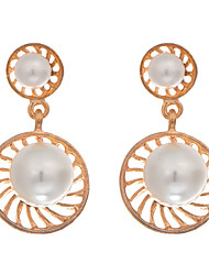 New Arrival 2016 Charms Hollow Flower Earrings Gold Plated Round Imitation White Pearl Stud Earring Women Jewelry