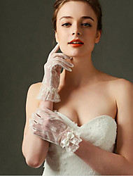 Champagne Wrist Length Fingertips Glove Lace Bridal Gloves with Bow