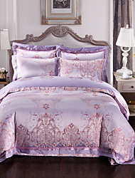 Purple Luxury Silk Cotton Blend Duvet Cover Sets Queen King Size Bedding Set