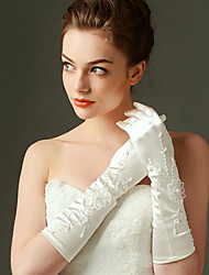 Elbow Length Fingertips Glove Elastic Satin Bridal Gloves with Beading / Appliques