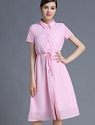 JOJ  Women's Going out Cute Sheath DressSolid Shirt Collar Knee-length Short Sleeve
