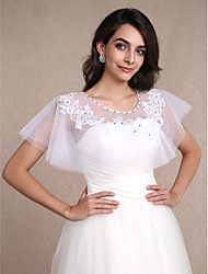 Women's Wrap Shrugs Sleeveless Lace White Wedding Party/Evening Scoop 30cm Beading Lace Pullover