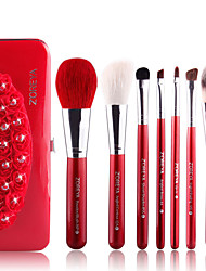 7 Makeup Brushes Set Goat Hair Professional / Full Coverage / Portable Wood Face / Eye / Lip Take Make-up Box
