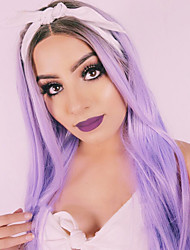 Women's Synthetic Wig Long Straight Hair Ombre Purple Wig Heat Resistant Cospaly Wig