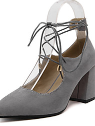 Women's Heels Spring / Fall Heels Fleece Party & Evening / Dress Chunky Heel Lace-up Black / Gray Others