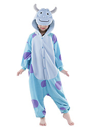 Kigurumi Pajamas New Cosplay® / Monster Leotard/Onesie Halloween Animal Sleepwear Sky Blue Patchwork Polar Fleece Kigurumi KidHalloween /
