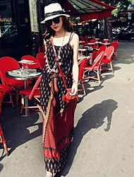 Boutique S Women's Going out Vintage Loose Dress,Print Strap Maxi Sleeveless Orange Others Spring