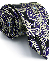 100% Silk Purple Paisley Men's Necktie Tie Jacquard Woven Dress For Men