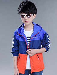 Boy's Cotton Spring/Autumn Fashion Patchwork Outerwear Hoodie Jacket Sport Coat Windbreaker