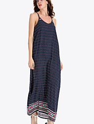 Women's Holiday Vintage Loose Dress,Print Strap Maxi Sleeveless Blue Polyester Summer