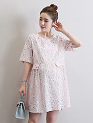 Maternity Casual/Daily Simple Loose Dress,Print Crew Neck Above Knee ½ Length Sleeve Pink Polyester Summer