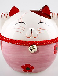 Home Decorations Pottery Ornaments Japanese Lucky Cat Piggy Bank (Random Colors)