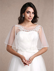 Women's Wrap Shrugs Sleeveless Lace Tulle Ivory Wedding Party/Evening Casual Scoop 30cm Lace Pullover