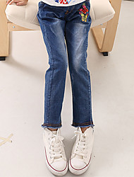 Girl's Cotton Spring/Autumn Fashion Butterfly Embroidered Children Skinny Jeans