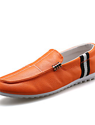 Masculino-Sapatos de Barco-Rasos-Rasteiro-Preto / Marrom / Branco-Couro-Casual
