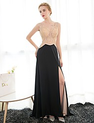 Formal Evening Dress Sheath / Column V-neck Floor-length Satin with Crystal Detailing