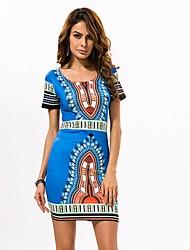 In Farbe Damen Rundhalsausschnitt Kurze Ärmel Knielänge Kleid-3513