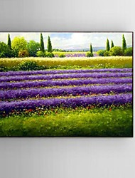 Ready to Hang Stretched Frame Hand-painted Oil Painting Canvas Corridor Wall Art Lavender Scenery