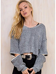 Women's Casual/Daily Street chic Long Pullover,Solid Gray V Neck Long Sleeve Polyester Fall Thin