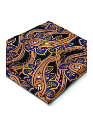 100% Silk Blue Orange Paisley For Men Pocket Square New Men's Handkerchief Jacquard Woven Dress Business