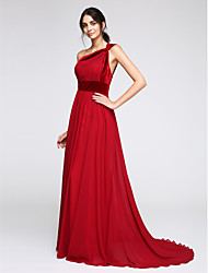 TS Couture® Formal Evening Dress A-line One Shoulder Sweep / Brush Train Chiffon / Velvet with Side Draping
