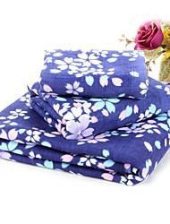3 Pcs Full Cotton Bath Towel Set Super Soft Floral Pattern