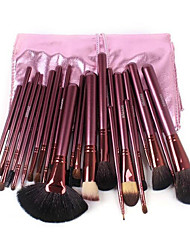 24 Pcs Red Wood Handle Goat Hair Makeup Brushes Sets With Random Color Bag
