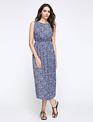 Women's Plus Size / Casual/Daily / Holiday Boho Chiffon / Swing Dress,Print Round Neck Midi Sleeveless Blue Polyester Summer High Rise
