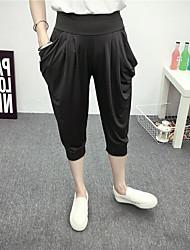 Women's Solid Black Loose Pants,Simple