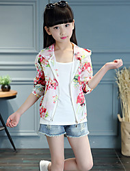 Girl's Casual/Daily Floral Blouse,Polyester Summer Pink / Red / White