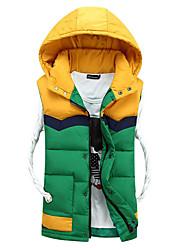 Men's Regular Padded Vest Coat,Polyester Color block Sleeveless Hoodie k254
