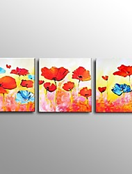 Stretched Frame Hand-Painted Modern Flower Oil Painting on Canvas 3 Piece/Set Wall Art Ready to Hang