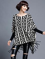 Women's Casual/Daily Street chic Regular Cloak / Capes,Jacquard Black Rabbit Fur / Rayon / Nylon Fall / Winter